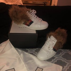 Gucci fur sneakers size 10 US